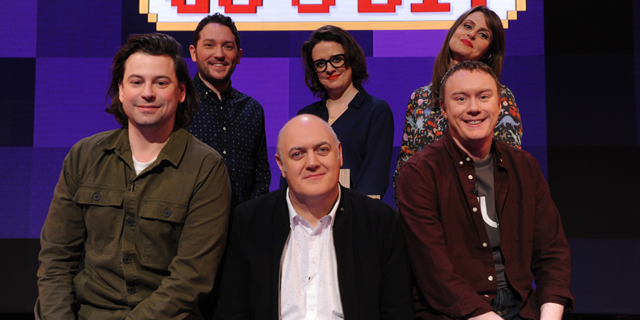 Dara O Briain's Go 8 Bit. Image shows from L to R: Sam Pamphilon, Jon Richardson, Dara O Briain, Ellie Gibson, Ellie Taylor, Steve McNeil. Copyright: DLT Entertainment Ltd..