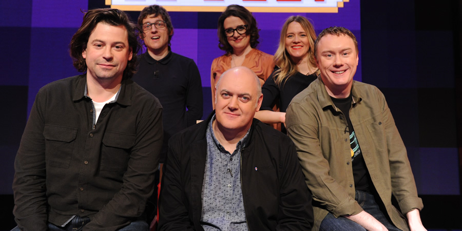 Dara O Briain's Go 8 Bit. Image shows from L to R: Sam Pamphilon, Elis James, Dara O Briain, Ellie Gibson, Edith Bowman, Steve McNeil. Copyright: DLT Entertainment Ltd..