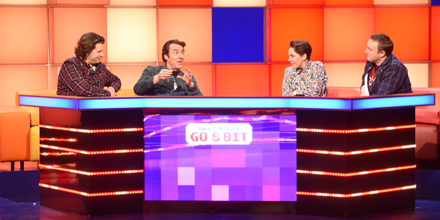 Dara O Briain's Go 8 Bit. Image shows from L to R: Sam Pamphilon, Jonathan Ross, Suzi Ruffell, Steve McNeil. Copyright: DLT Entertainment Ltd..