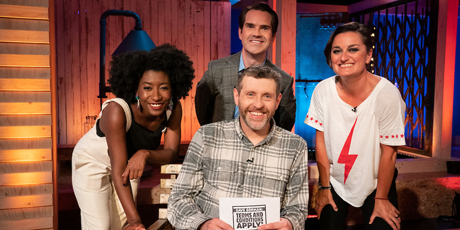 Dave Gorman: Terms And Conditions Apply. Image shows from L to R: Sophie Duker, Jimmy Carr, Dave Gorman, Zoe Lyons. Copyright: Avalon Television.