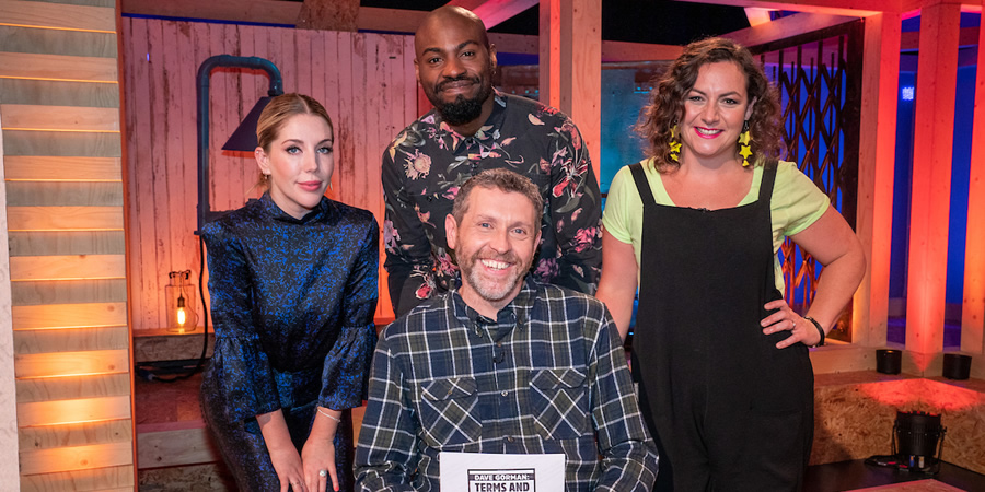 Dave Gorman: Terms And Conditions Apply. Image shows from L to R: Katherine Ryan, Darren Harriott, Dave Gorman, Jessica Fostekew. Copyright: Avalon Television.