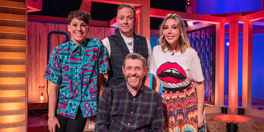 Dave Gorman: Terms And Conditions Apply. Image shows from L to R: Suzi Ruffell, Rufus Hound, Dave Gorman, Katherine Ryan. Copyright: Avalon Television.