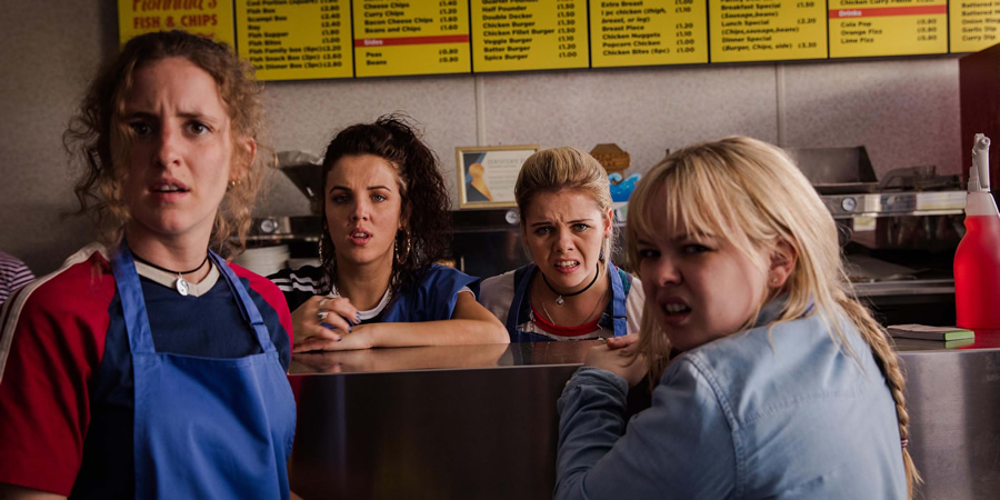 Derry Girls. Image shows from L to R: Orla McCool (Louisa Harland), Michelle Mallon (Jamie-Lee O'Donnell), Erin Quinn (Saoirse-Monica Jackson), Clare Devlin (Nicola Coughlan). Copyright: Hat Trick Productions.