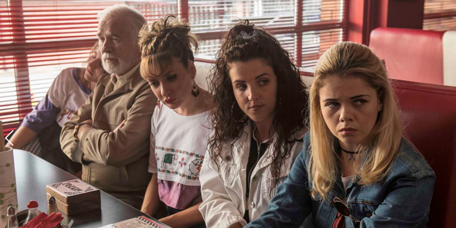 Derry Girls. Image shows from L to R: Orla McCool (Louisa Harland), Granda Joe (Ian McElhinney), Aunt Sarah (Kathy Kiera Clarke), Michelle Mallon (Jamie-Lee O'Donnell), Erin Quinn (Saoirse-Monica Jackson). Copyright: Hat Trick Productions.