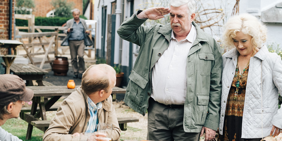 Detectorists. Image shows from L to R: Andy Stone (Mackenzie Crook), Lance Stater (Toby Jones), Terry (Gerard Horan), Sheila (Sophie Thompson).