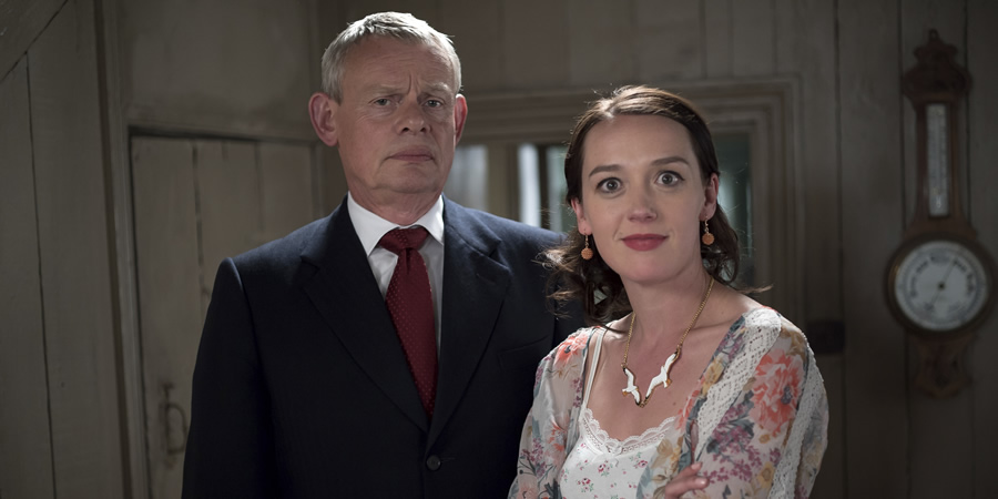 Doc Martin. Image shows from L to R: Dr Martin Ellingham (Martin Clunes), Morwenna Newcross (Jessica Ransom).