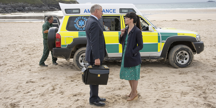 Doc Martin. Image shows from L to R: Dr Martin Ellingham (Martin Clunes), Louisa Glasson (Caroline Catz).