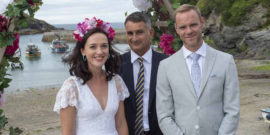 Doc Martin. Image shows from L to R: Morwenna Newcross (Jessica Ransom), PC Penhale (John Marquez), Al Large (Joe Absolom).