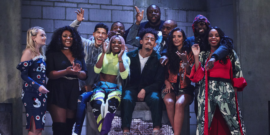 Don't Hate The Playaz. Image shows from L to R: Amelia Dimoldenberg, Paisley Billings, Jack Fowler, Lady Leshurr, Darren Harriott, Shortee Blitz, Jordan Stephens, Dane Baptiste, Maya Jama, Justin Clarke, London Hughes.