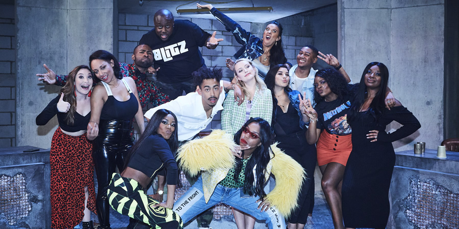 Don't Hate The Playaz. Image shows from L to R: Jess Robinson, Lisa Maffia, Darren Harriott, Lady Leshurr, Shortee Blitz, Jordan Stephens, Amelia Dimoldenberg, London Hughes, Maya Jama, Milena Sanchez, Ricky Haywood Williams, Tolani Shoneye, Audrey Indome.