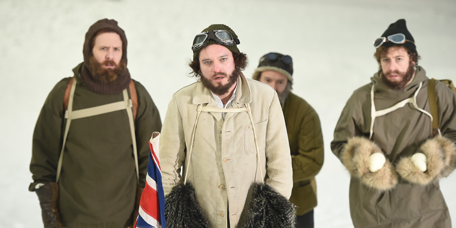 Drunk History. Image shows from L to R: Edward Wilson (Tim Downie), Captain Robert Falcon Scott (Mathew Horne), Lawrence Oates (Matthew Steer). Copyright: Tiger Aspect Productions.