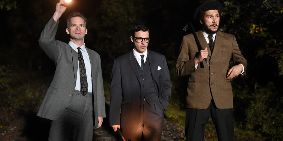 Drunk History. Image shows from L to R: Roger Cordrey (Seb Cardinal), Bruce Reynolds (Simon Bird), Gordon Goody (Joel Fry). Copyright: Tiger Aspect Productions.