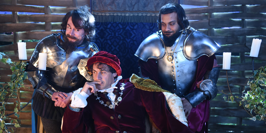 Drunk History. Image shows from L to R: Charles d'Albret (Mike Wozniak), Charles VI (Dustin Demri-Burns), Marshal Boucicaut (Guz Khan). Copyright: Tiger Aspect Productions.