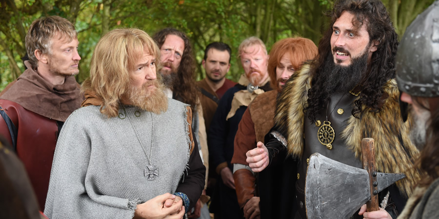 Drunk History. Image shows from L to R: Unknown, Alfred The Great (Alexander Armstrong), Unknown, Unknown, Unknown, Unknown, King Guthrum (Blake Harrison). Copyright: Tiger Aspect Productions.