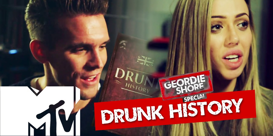 Drunk History. Image shows from L to R: Gary Beadle, Holly Hagan. Copyright: Tiger Aspect Productions.