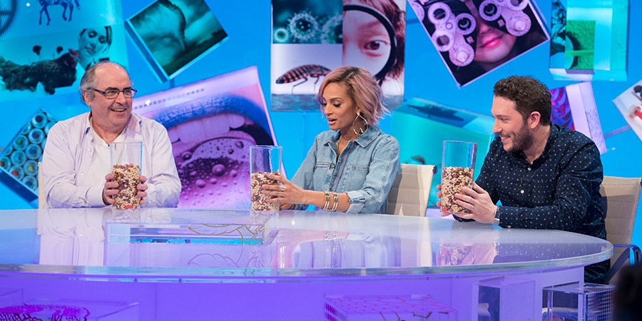 Duck Quacks Don't Echo. Image shows from L to R: Danny Baker, Alesha Dixon, Jon Richardson. Copyright: Magnum Media.