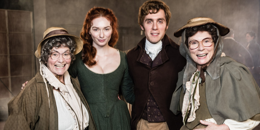 French And Saunders. Image shows from L to R: Dawn French, Eleanor Tomlinson, Jack Farthing, Jennifer Saunders.