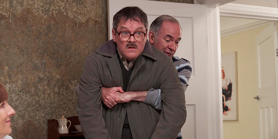 Friday Night Dinner. Image shows from L to R: Jim (Mark Heap), Martin (Paul Ritter).