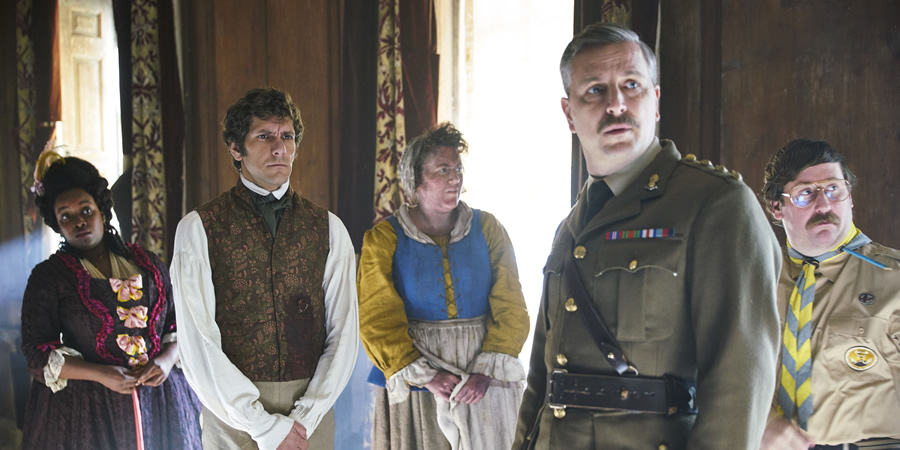 Ghosts. Image shows from L to R: Kitty (Lolly Adefope), Thomas Thorne (Mathew Baynton), Mary (Katy Wix), Captain (Ben Willbond), Pat (Jim Howick). Copyright: Monumental Pictures.