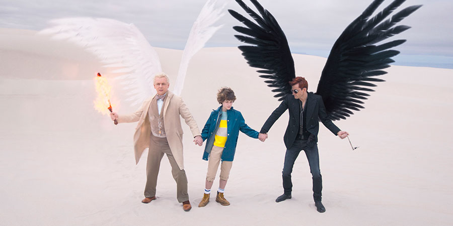 Good Omens. Image shows from L to R: Aziraphale (Michael Sheen), Adam Young (Sam Taylor Buck), Crowley (David Tennant).