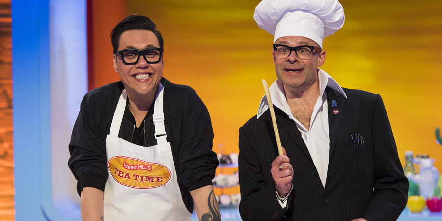 Harry Hill's Tea Time. Image shows from L to R: Gok Wan, Harry Hill. Copyright: Nit TV.