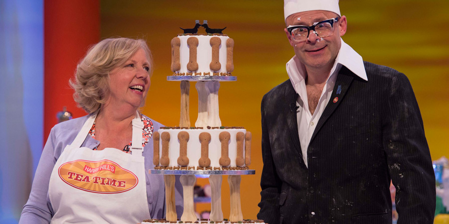 Harry Hill's Tea Time. Image shows from L to R: Deborah Meaden, Harry Hill. Copyright: Nit TV.