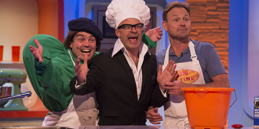 Harry Hill's Tea Time. Image shows from L to R: Trevor Modo (Charlie Baker), Harry Hill, Jason Donovan. Copyright: Nit TV.