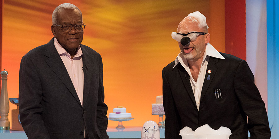 Harry Hill's Tea Time. Image shows from L to R: Trevor McDonald, Harry Hill. Copyright: Nit TV.