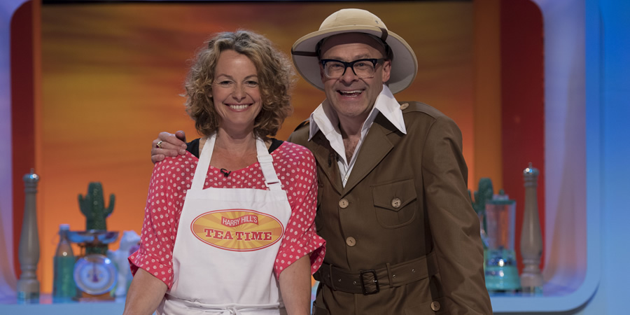 Harry Hill's Tea Time. Image shows from L to R: Kate Humble, Harry Hill. Copyright: Nit TV.
