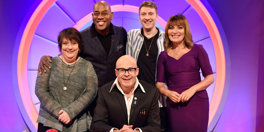 Harry Hill's Alien Fun Capsule. Image shows from L to R: Kathy Burke, Ainsley Harriott, Harry Hill, Joe Lycett, Lorraine Kelly. Copyright: Nit TV.