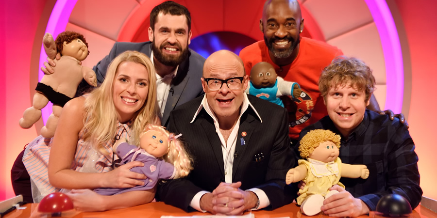 Harry Hill's Alien Fun Capsule. Image shows from L to R: Sara Pascoe, Kelvin Fletcher, Harry Hill, Patrick Robinson, Josh Widdicombe. Copyright: Nit TV.