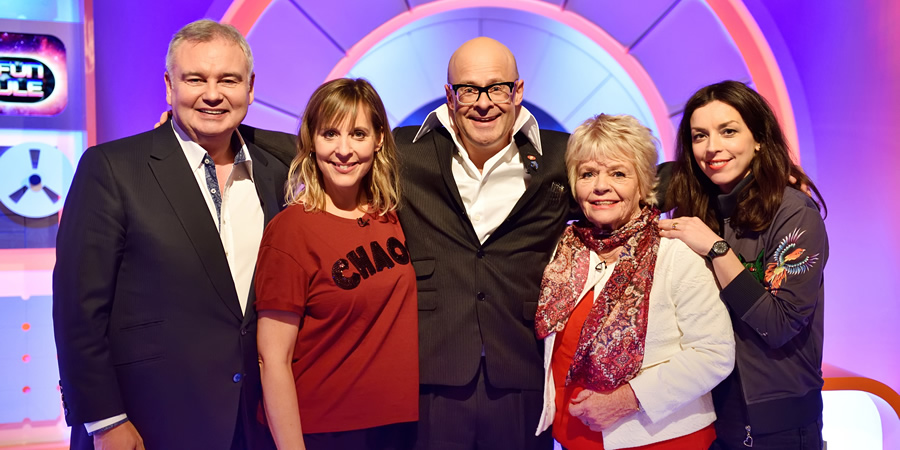 Harry Hill's Alien Fun Capsule. Image shows from L to R: Eamonn Holmes, Mel Giedroyc, Harry Hill, Judith Chalmers, Bridget Christie. Copyright: Nit TV.