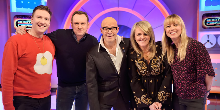 Harry Hill's Alien Fun Capsule. Image shows from L to R: Joe Lycett, Philip Glenister, Harry Hill, Sally Lindsay, Sara Cox. Copyright: Nit TV.