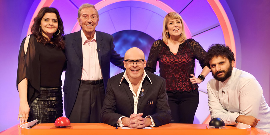 Harry Hill's Alien Fun Capsule. Image shows from L to R: Nina Wadia, Des O'Connor, Harry Hill, Fay Ripley, Nish Kumar. Copyright: Nit TV.