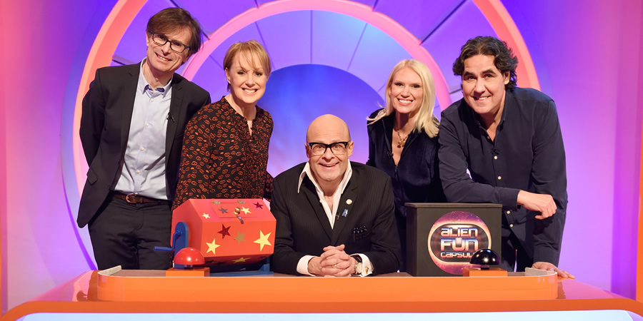 Harry Hill's Alien Fun Capsule. Image shows from L to R: Robert Peston, Sally Dynevor, Harry Hill, Anneka Rice, Micky Flanagan. Copyright: Nit TV.