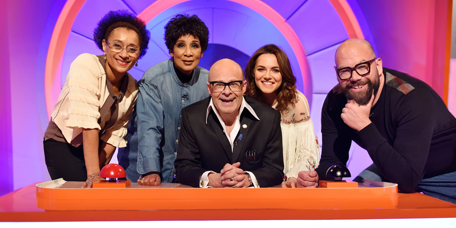 Harry Hill's Alien Fun Capsule. Image shows from L to R: Suzanne Packer, Moira Stuart, Harry Hill, Kara Tointon, Tom Davis. Copyright: Nit TV.