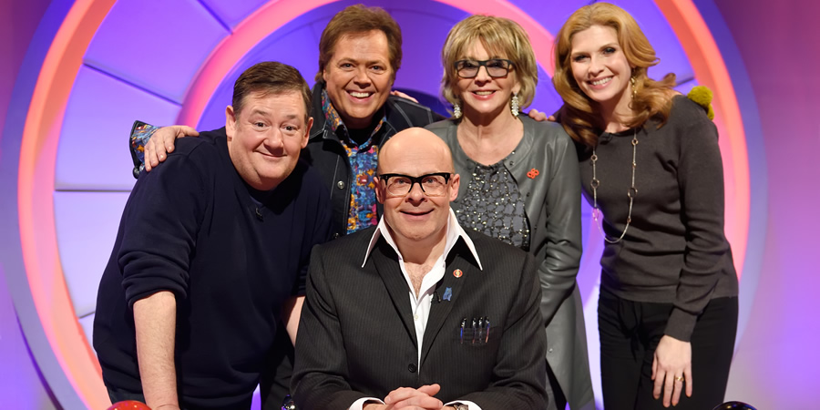 Harry Hill's Alien Fun Capsule. Image shows from L to R: Johnny Vegas, Jimmy Osmond, Harry Hill, Sue Johnston, Samantha Giles. Copyright: Nit TV.