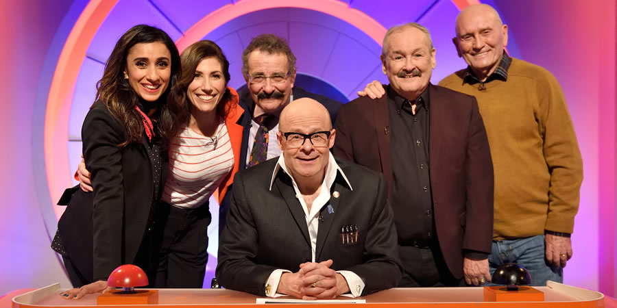 Harry Hill's Alien Fun Capsule. Image shows from L to R: Anita Rani, Gaynor Faye, Robert Winston, Harry Hill, Bobby Ball, Tommy Cannon. Copyright: Nit TV.
