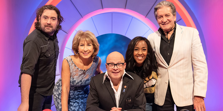 Harry Hill's Alien Fun Capsule. Image shows from L to R: Nick Helm, Jennie Bond, Harry Hill, Angellica Bell, Patrick Mower. Copyright: Nit TV.