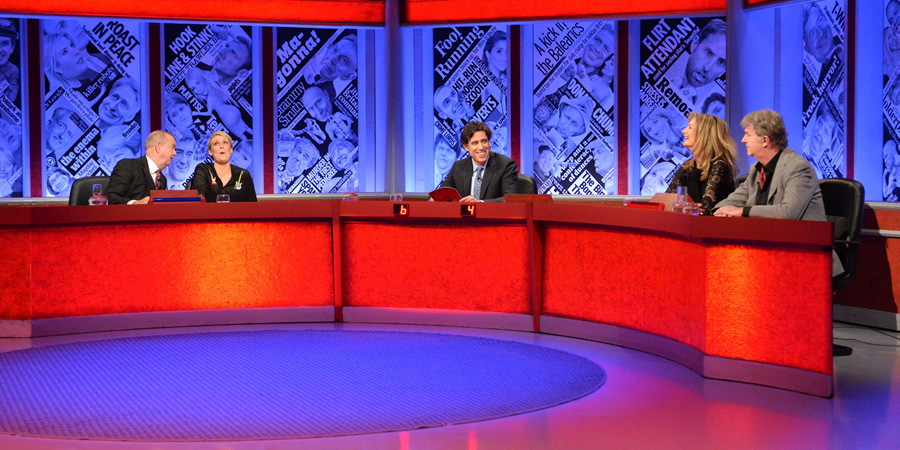 Have I Got News For You. Image shows from L to R: Ian Hislop, Stephanie McGovern, Stephen Mangan, Jo Caulfield, Paul Merton.