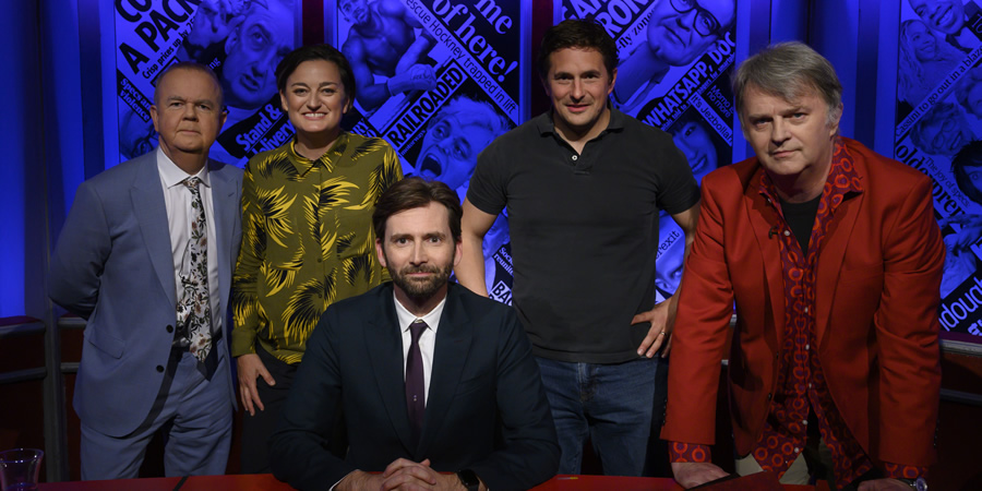 Have I Got News For You. Image shows from L to R: Ian Hislop, Zoe Lyons, David Tennant, Johnny Mercer, Paul Merton.