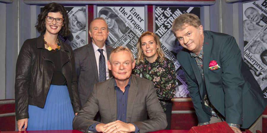Have I Got News For You. Image shows from L to R: Layla Moran, Ian Hislop, Martin Clunes, Sara Pascoe, Paul Merton.