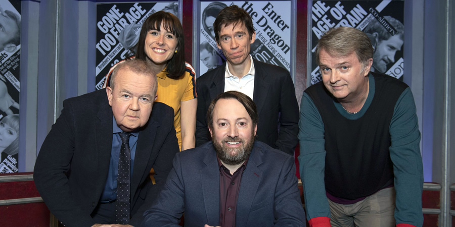 Have I Got News For You. Image shows from L to R: Ian Hislop, Maisie Adam, David Mitchell, Rory Stewart, Paul Merton.