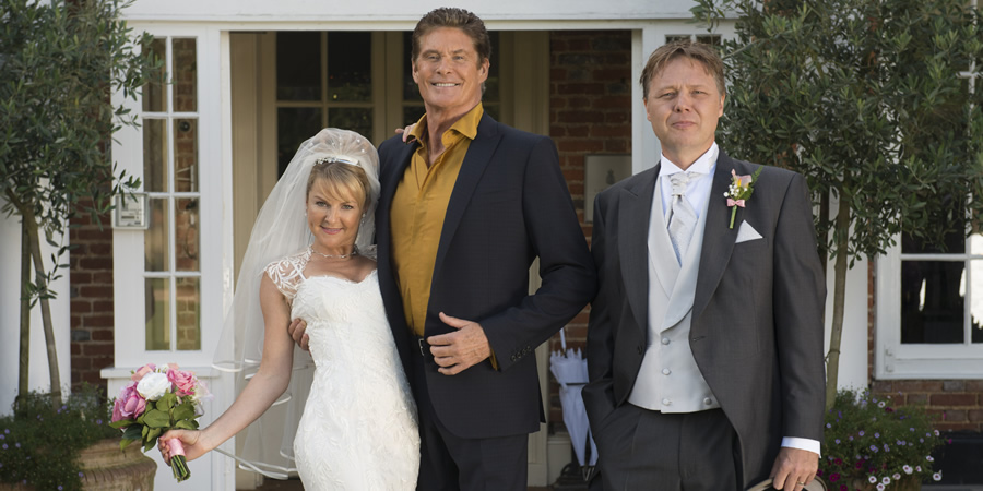 Hoff The Record. Image shows from L to R: Patricia (Sarah Hadland), Hoff (David Hasselhoff), Greg (Shaun Dooley). Copyright: Me & You Productions.