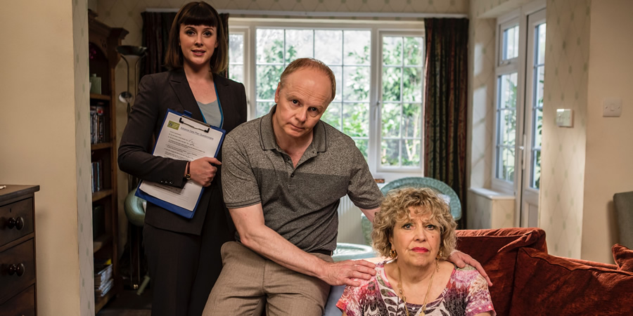 Hold The Sunset. Image shows from L to R: Felicity (Alexandra Roach), Roger (Jason Watkins), Queenie Gale (Anne Reid). Copyright: BBC.