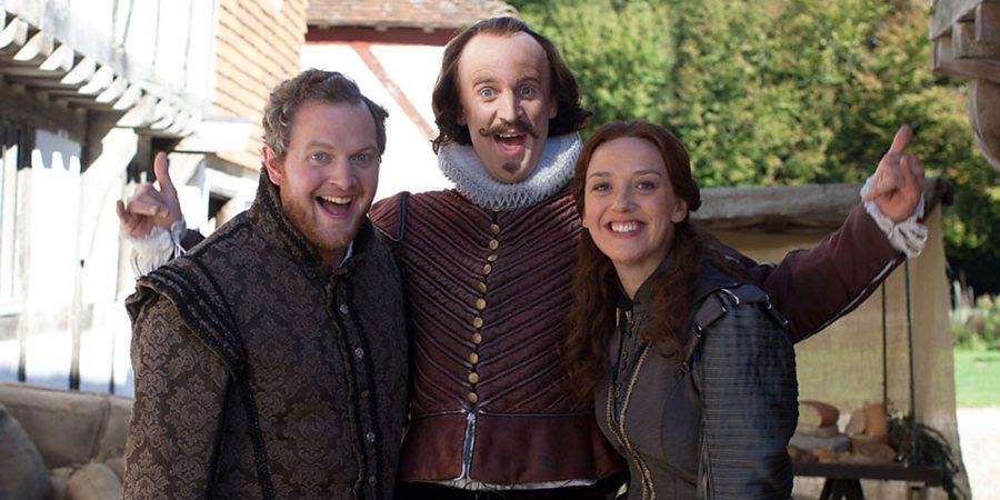 Horrible Histories. Image shows from L to R: Frances (Miles Jupp), William Shakespeare (Tom Stourton), Jessica Ransom. Copyright: Lion Television / Citrus Television.