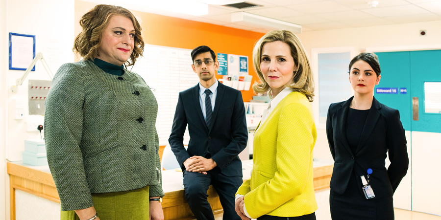 Hospital People. Image shows from L to R: Susan Mitchell (Tom Binns), Sunny Prasad (Amit Shah), Helena Steel (Sally Phillips), Helena's Aide (Emma Sidi).