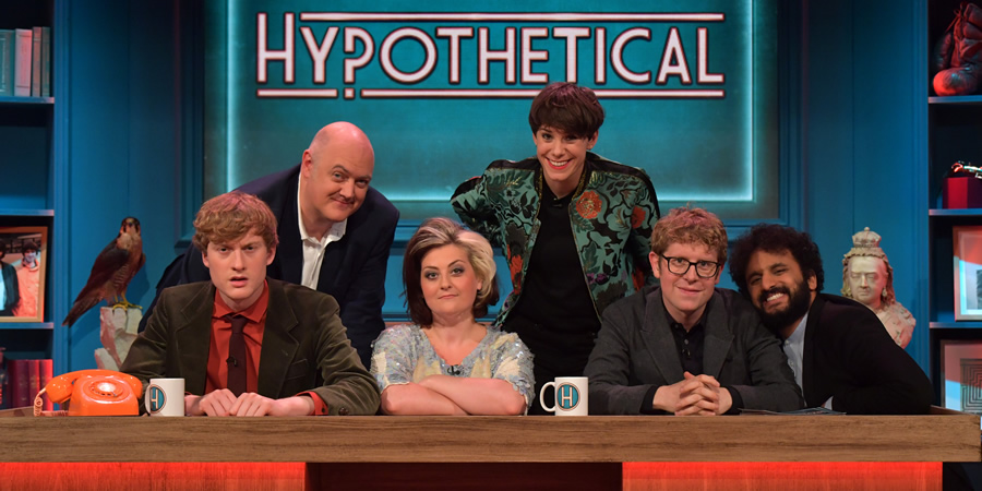 Hypothetical. Image shows from L to R: James Acaster, Dara O Briain, Kiri Pritchard-McLean, Suzi Ruffell, Josh Widdicombe, Nish Kumar. Copyright: Hat Trick Productions.