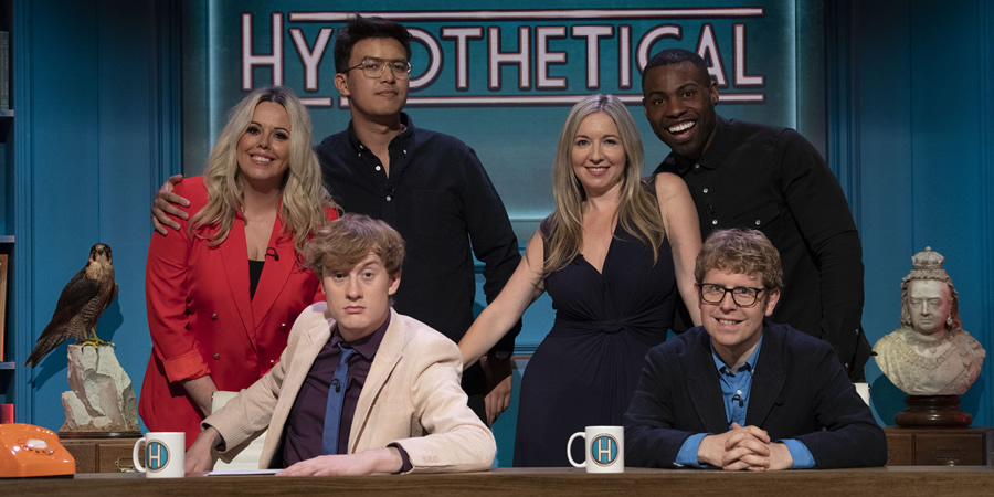 Hypothetical. Image shows from L to R: Roisin Conaty, James Acaster, Phil Wang, Victoria Coren Mitchell, Darren Harriott, Josh Widdicombe. Copyright: Hat Trick Productions.