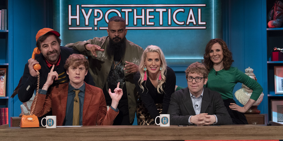 Hypothetical. Image shows from L to R: David O'Doherty, James Acaster, Guz Khan, Sara Pascoe, Josh Widdicombe, Cariad Lloyd. Copyright: Hat Trick Productions.
